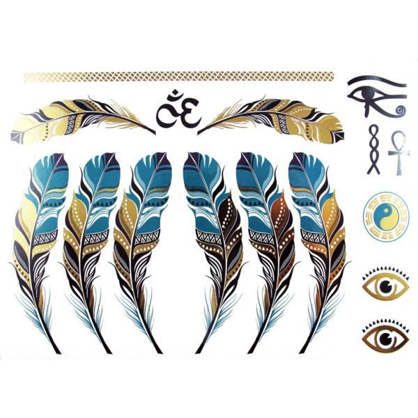 tatouage ephemere temporaire metallic gold feather tattoo