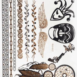 tatouage éphémère doré femme indie