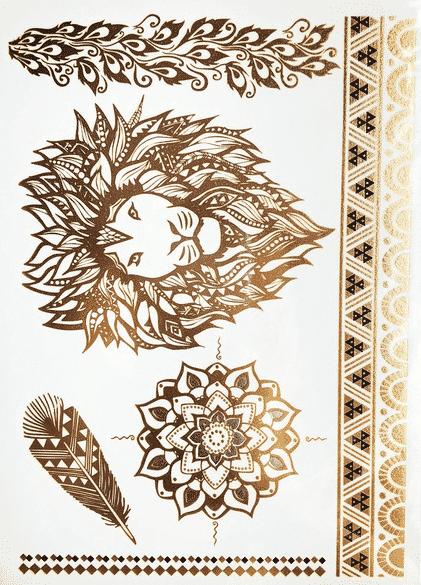 tatouage ephemere dore lion
