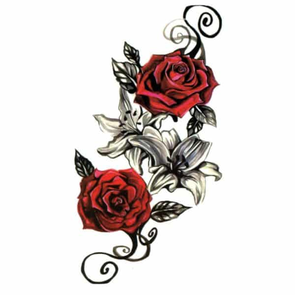 tatouage rose femme ephemere red