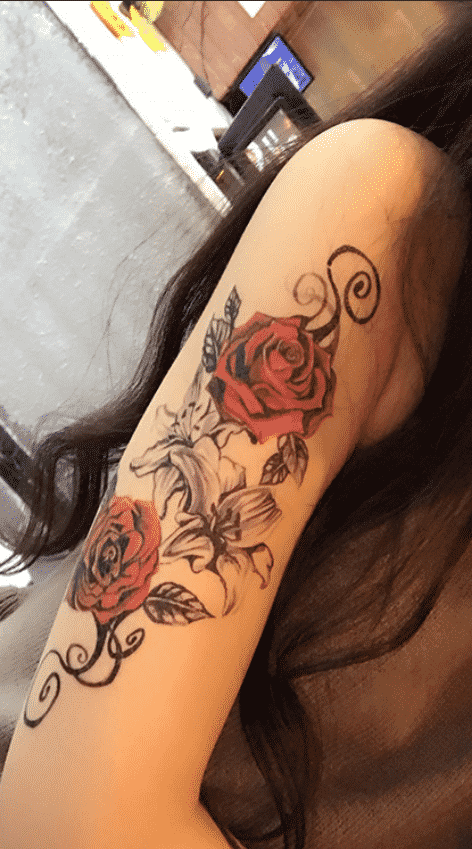 Tatouage Rose Femme Ephemere Red Routine
